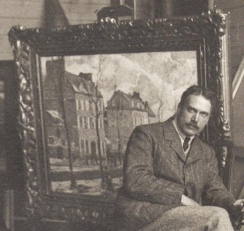 Schofield in his studio Frame detail