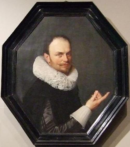 Octagonal portrait in whalebone frame