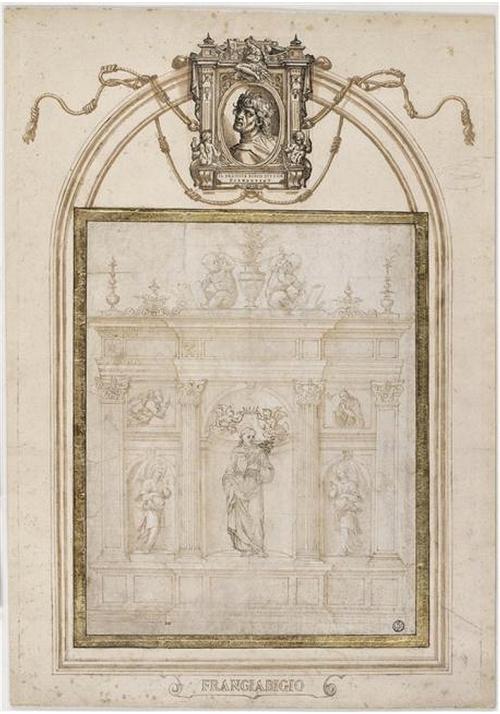 Fig 16 Francesco Franciabigio Etude pour un retable avec saint François entouré de la Vierge et Gabriel Mus du Louvre