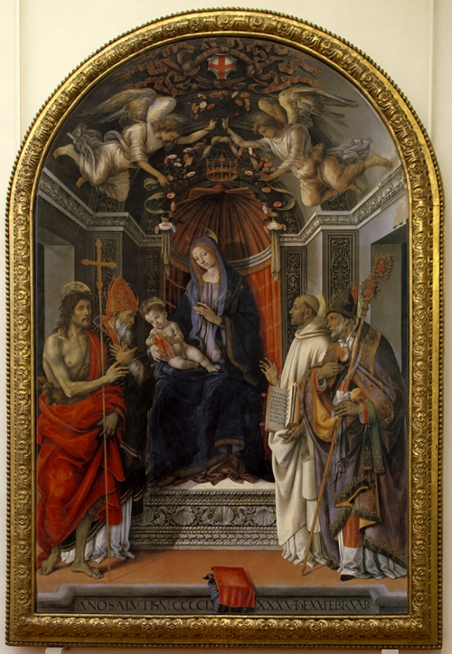 Fig 8 Filippino Lippi Virgin & Child with saints Otto di Pratica altarpiece Uffizi ed