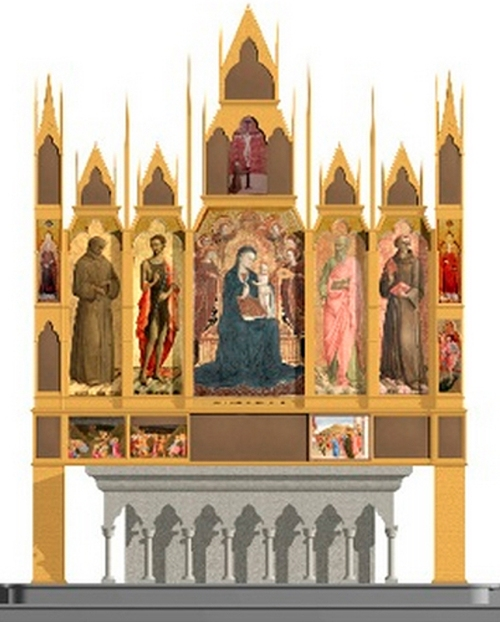 Fig c Reconstruction of Sassetta's Borgo San Sepolcro altarpiece front view