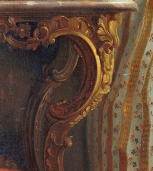 Laurent Pécheux Portrait of Maria Luisa 1765 Met Mus NY DETAIL of console table