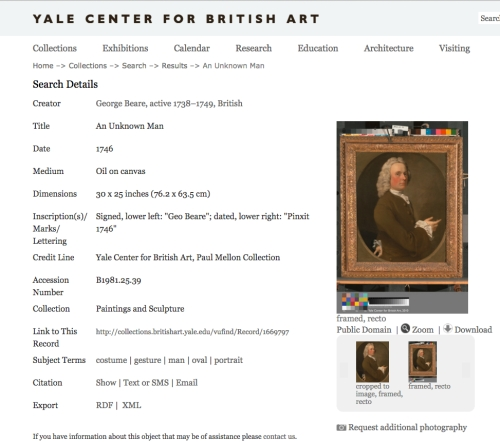 Yale Center for British Art George Bear portrait Panel frame