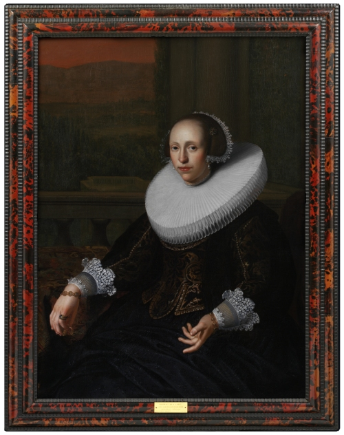 P.50-1962 Oil painting An unknown lady in a ruff; Portrait of an unknown lady in a ruff. Oil painting, style of Johannes Cornelisz Verspronck, ca.1630-1635. Johannes Cornelisz Verspronck (1606-1662), style of Netherlands Late 17th century Oil on canvas