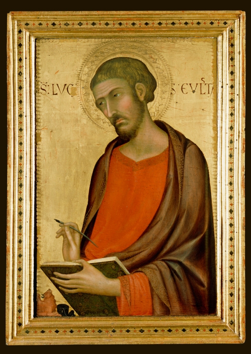 St. Luke; Simone Martini (Italian (Sienese), about 1284 - 1344); Siena, Tuscany, Italy; 1330s; Tempera and gold leaf on panel; Panel: 67.5 x 48.3 x 3.8 cm (26 9/16 x 19 x 1 1/2 in.); 82.PB.72