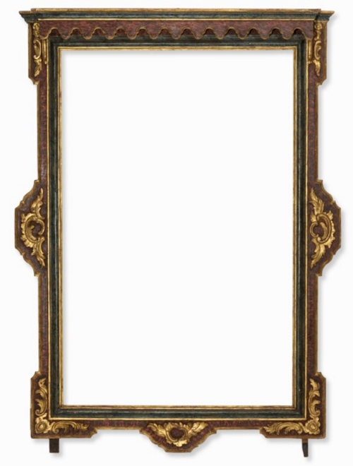 Lot 1 Spanish faux marbre polychrome frame C18 a