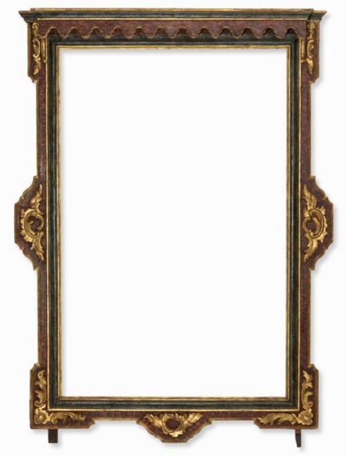 Lot 1 Spanish faux marbre polychrome frame C18 a