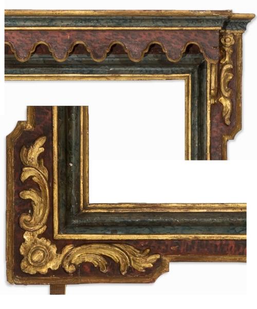 Lot 1 Spanish faux marbre polychrome frame C18 details