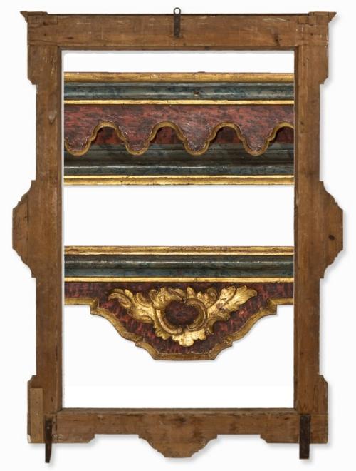 Lot 1 Spanish faux marbre polychrome frame C18 reverse & details