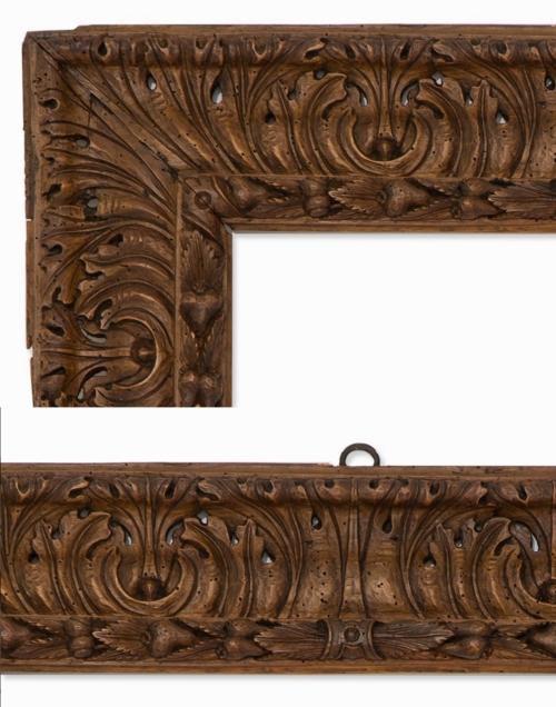 Lot 78 Spanish limewood acanthus leaf frame C17 details