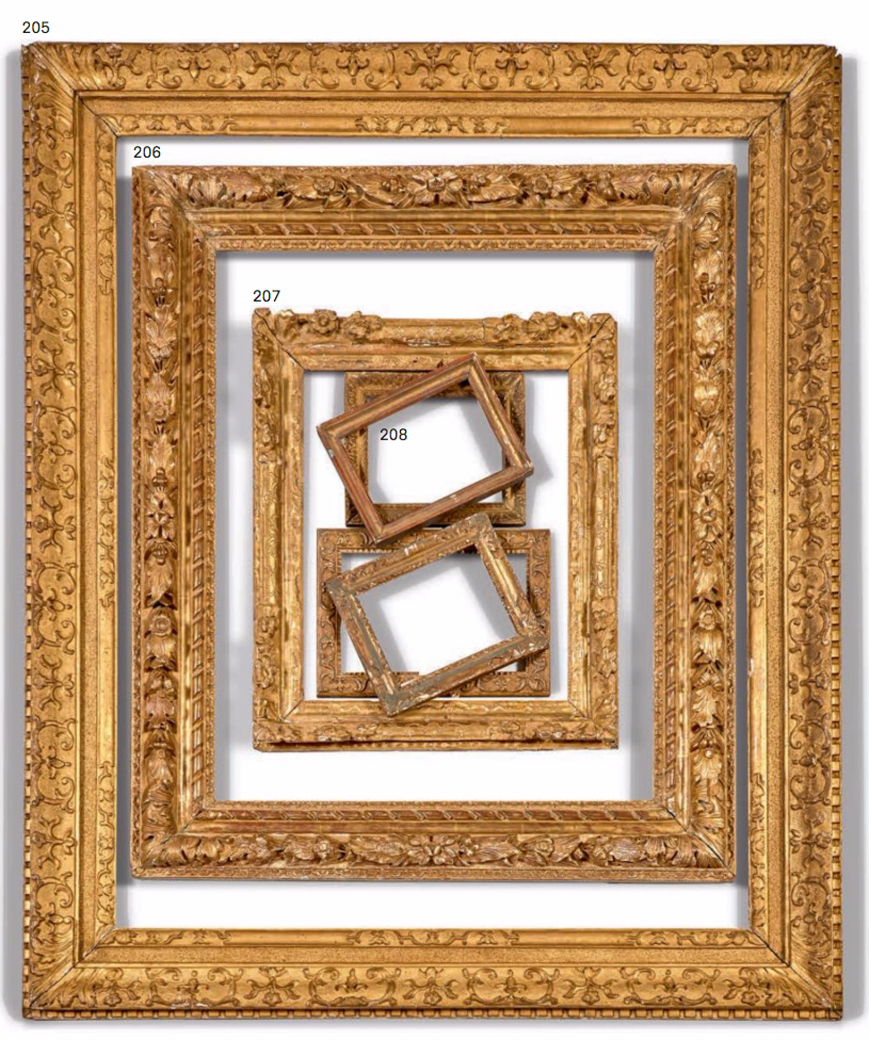 lots 205 to 208 french louis xiii and louis xiv frames 17th century