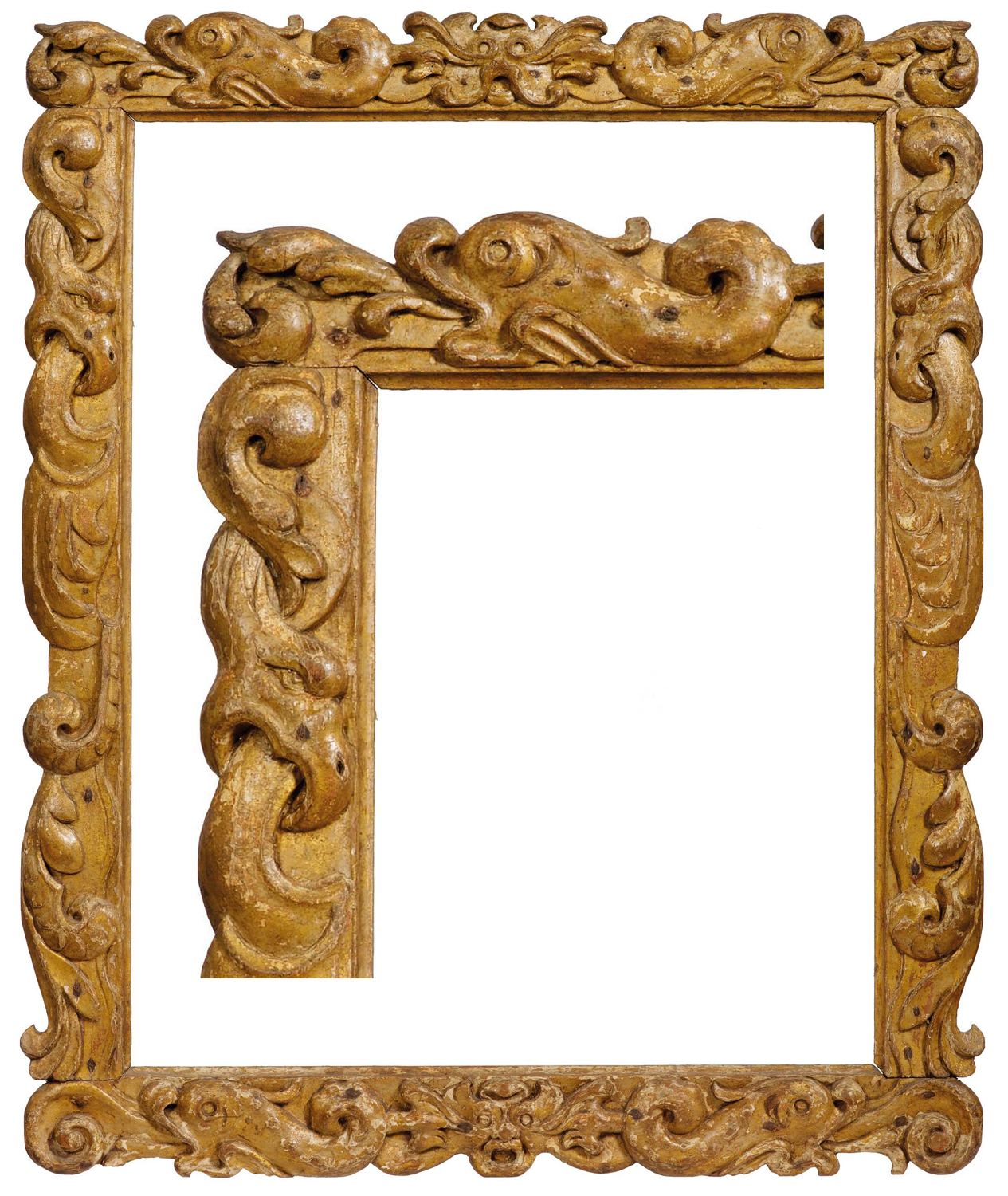 lot 97 an early 17th century auricular frame catalogued as netherlandish but almost certainly british carved in shallow relief with a sea monster mascaron