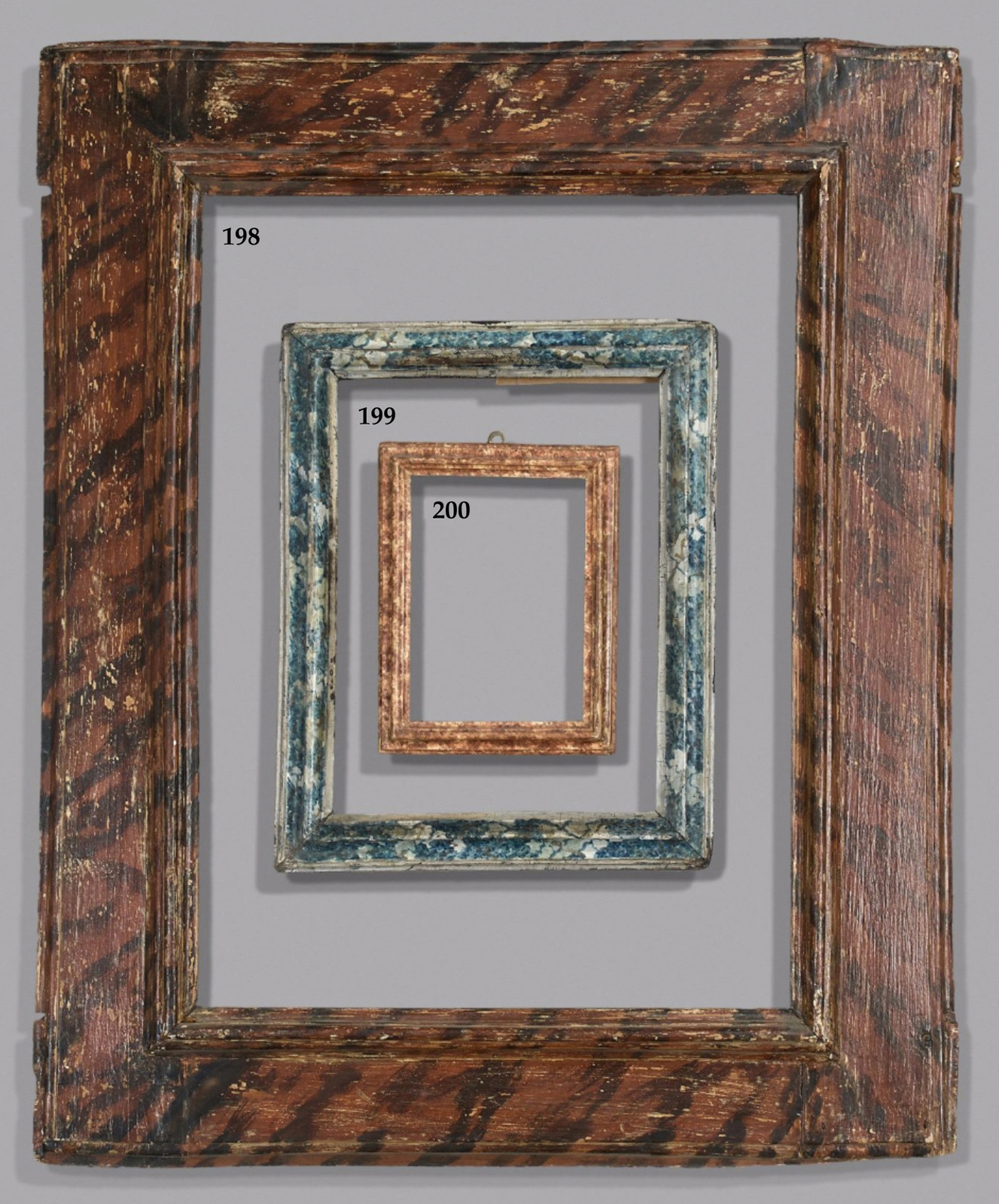 The collection of pierre berndt an auction by artcurial on 14 lots 198 200 italian 17th century frames with painted trompe loeil finishes jeuxipadfo Gallery