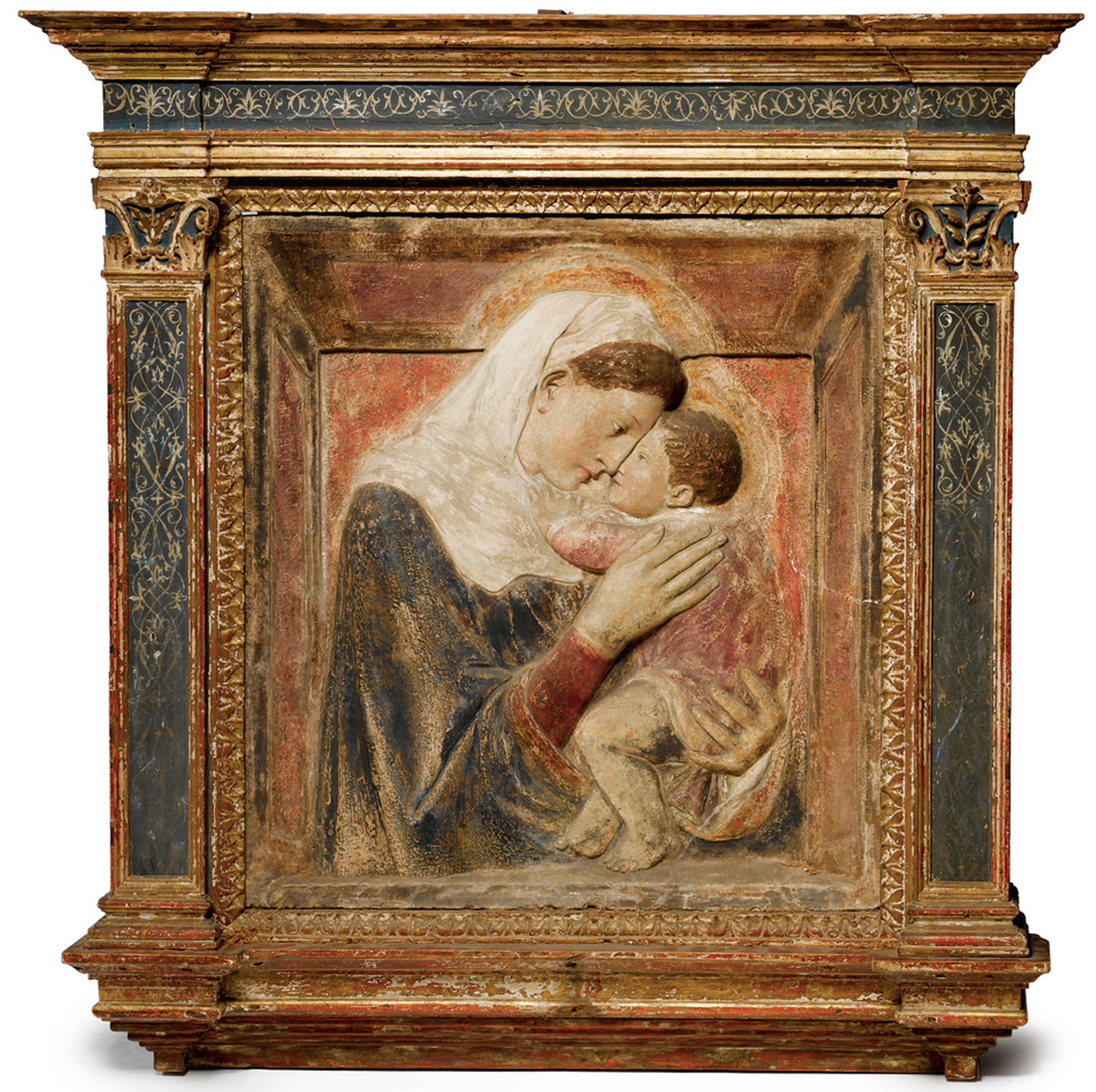 The frame blog articles interviews and reviews to do with donatello circa 1386 1466 after madonna and child gilt painted stucco relief italian in later frame overall 46 ins 1187 cm jeuxipadfo Image collections
