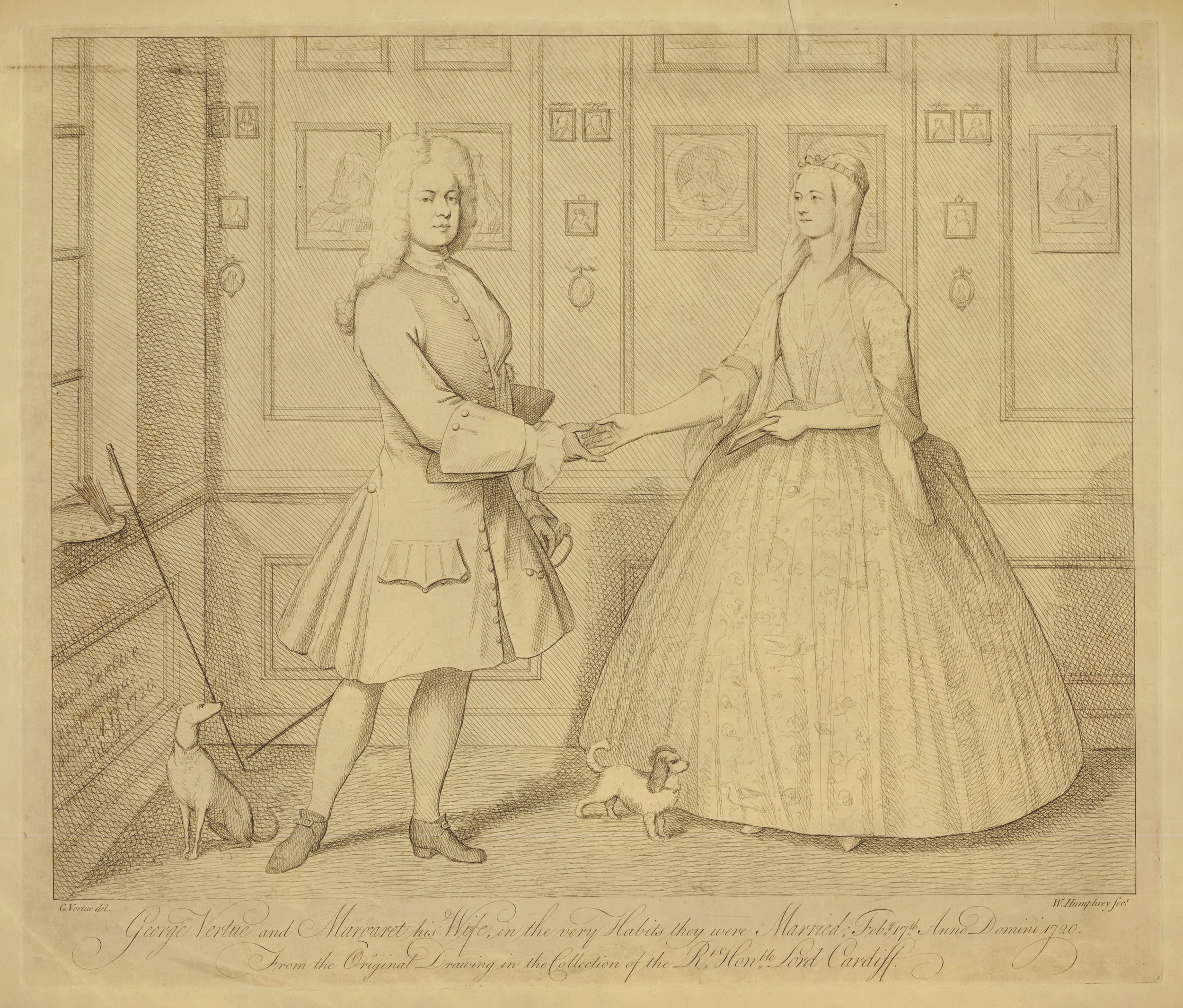 15 Wm Humphrey after George Vertue GV & Margaret his Wife in the very Habits they were Married 1765to1810 36.8x43.4cm BM