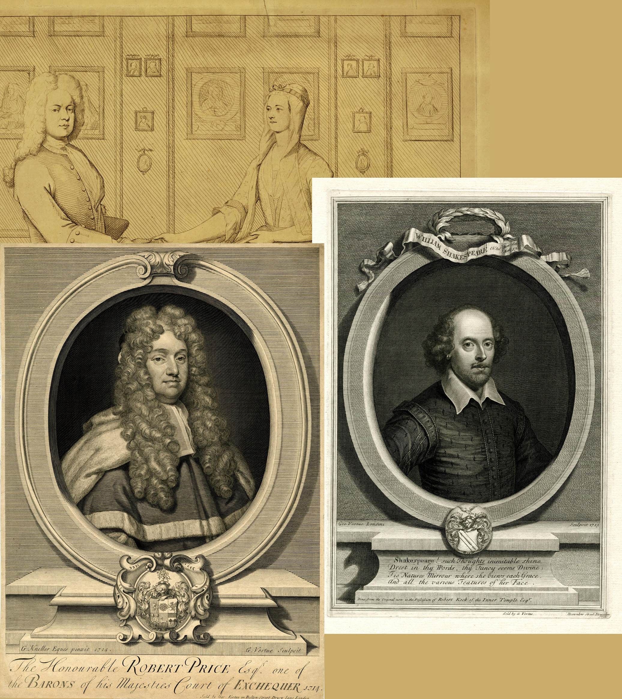 17 Wm Humphrey after George Vertue GV & Margaret his Wife plus prints of Price by Kneller & Shakespeare BM