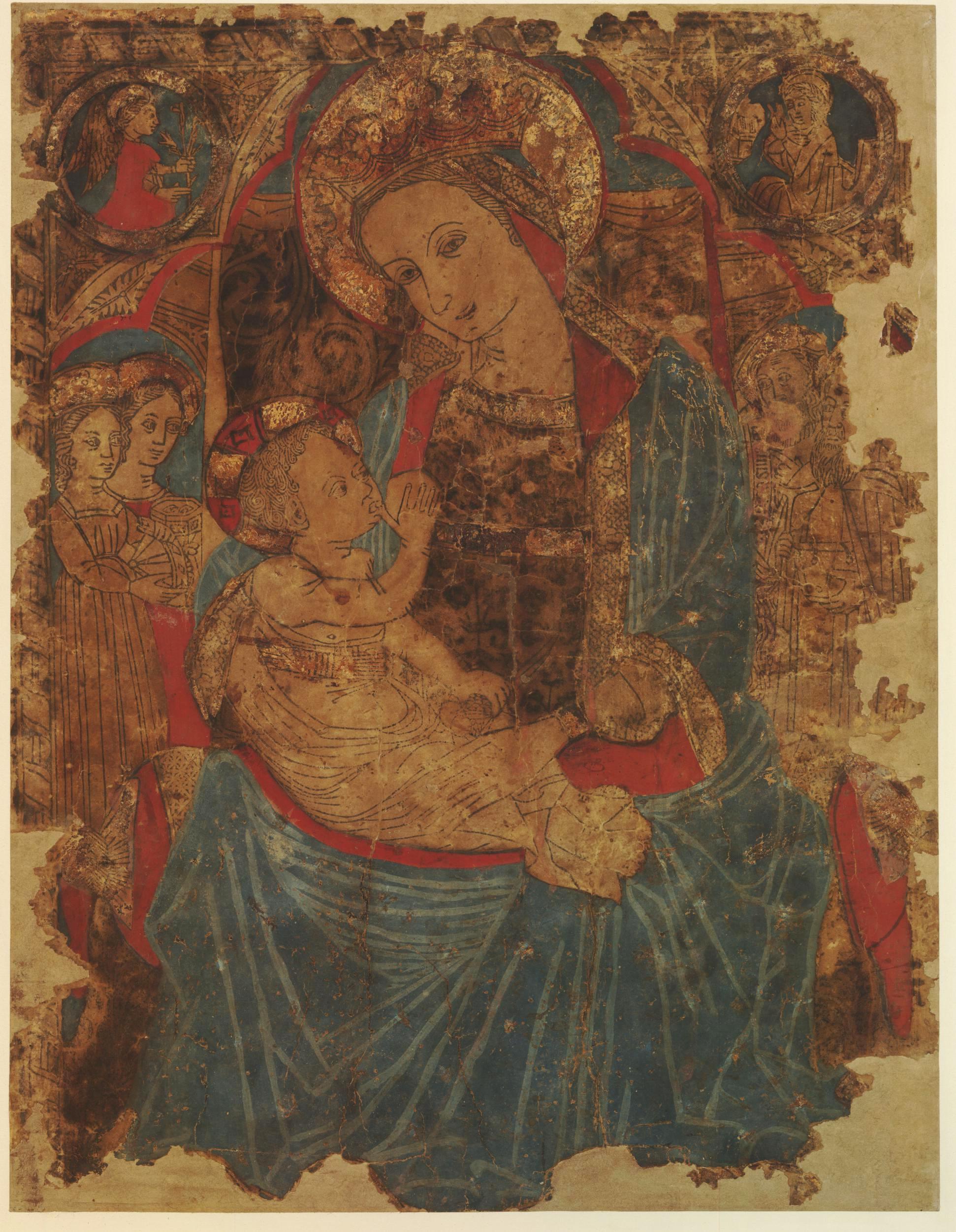 2 Italian School Virgin enthroned suckling her Child c1450 hand coloured woodcute BM