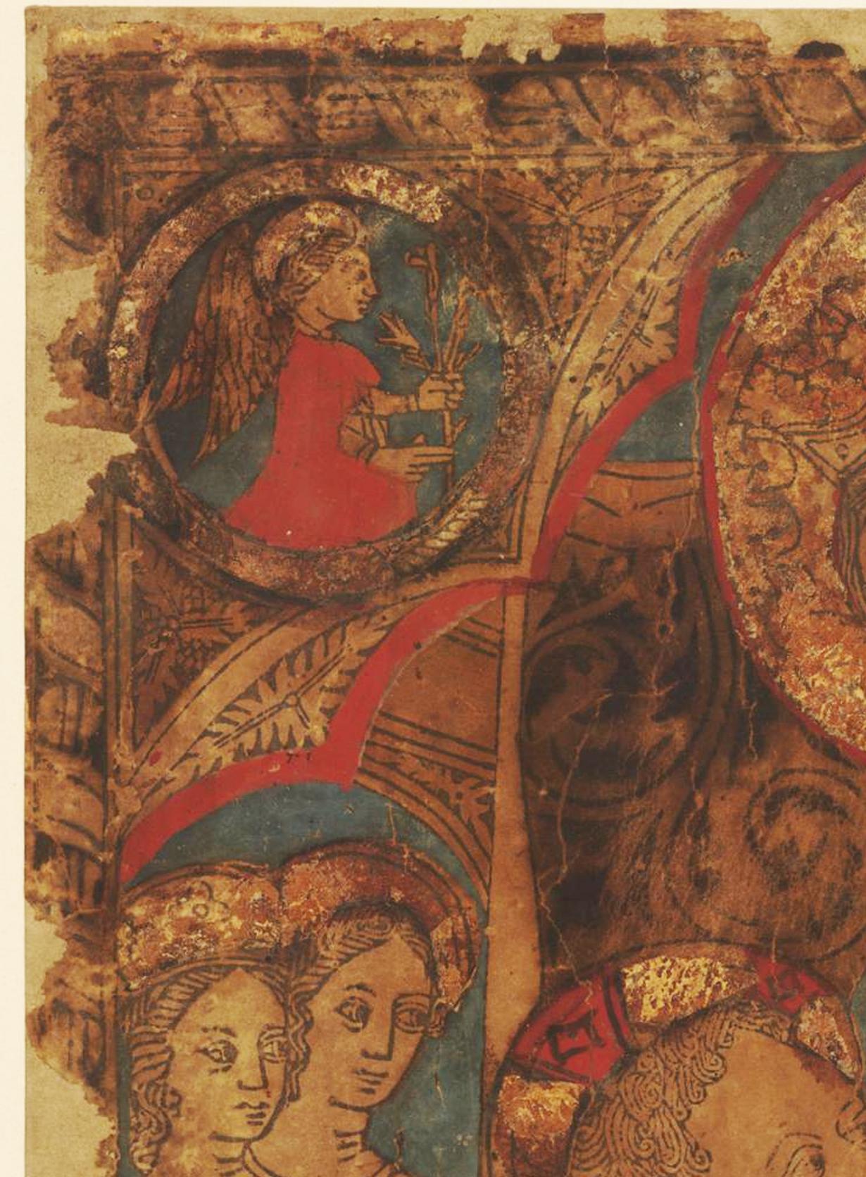 2B Italian School Virgin enthroned suckling her Child c1450 hand coloured woodcute BM detail