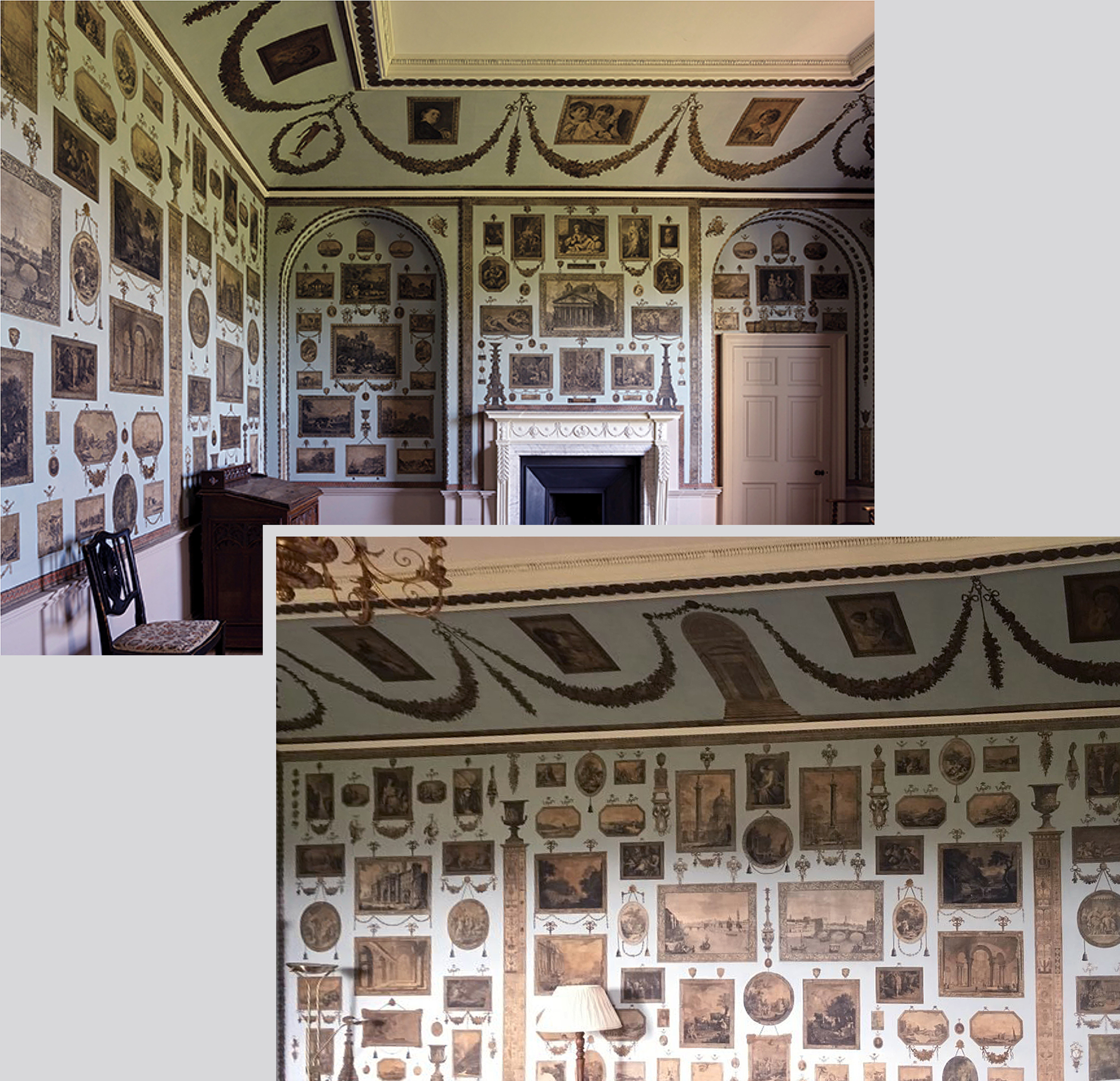 34A Woodhall Park 1782 Restored Print Room 1782 two views