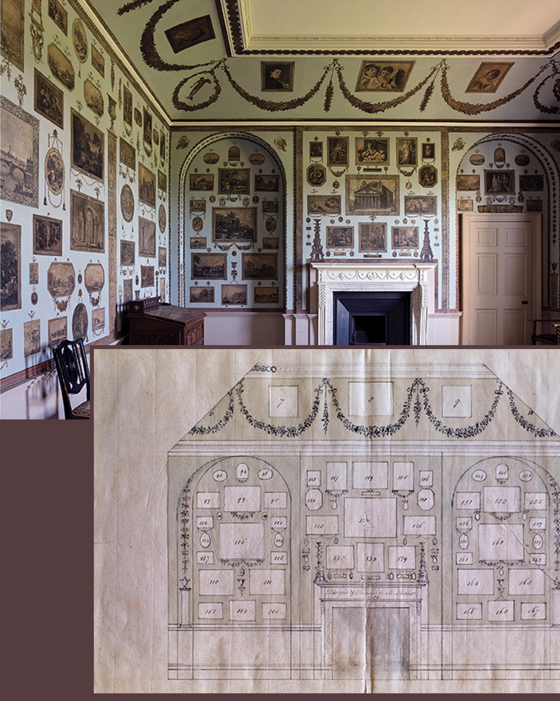 34B Woodhall Park 1782 Print Room + elevation