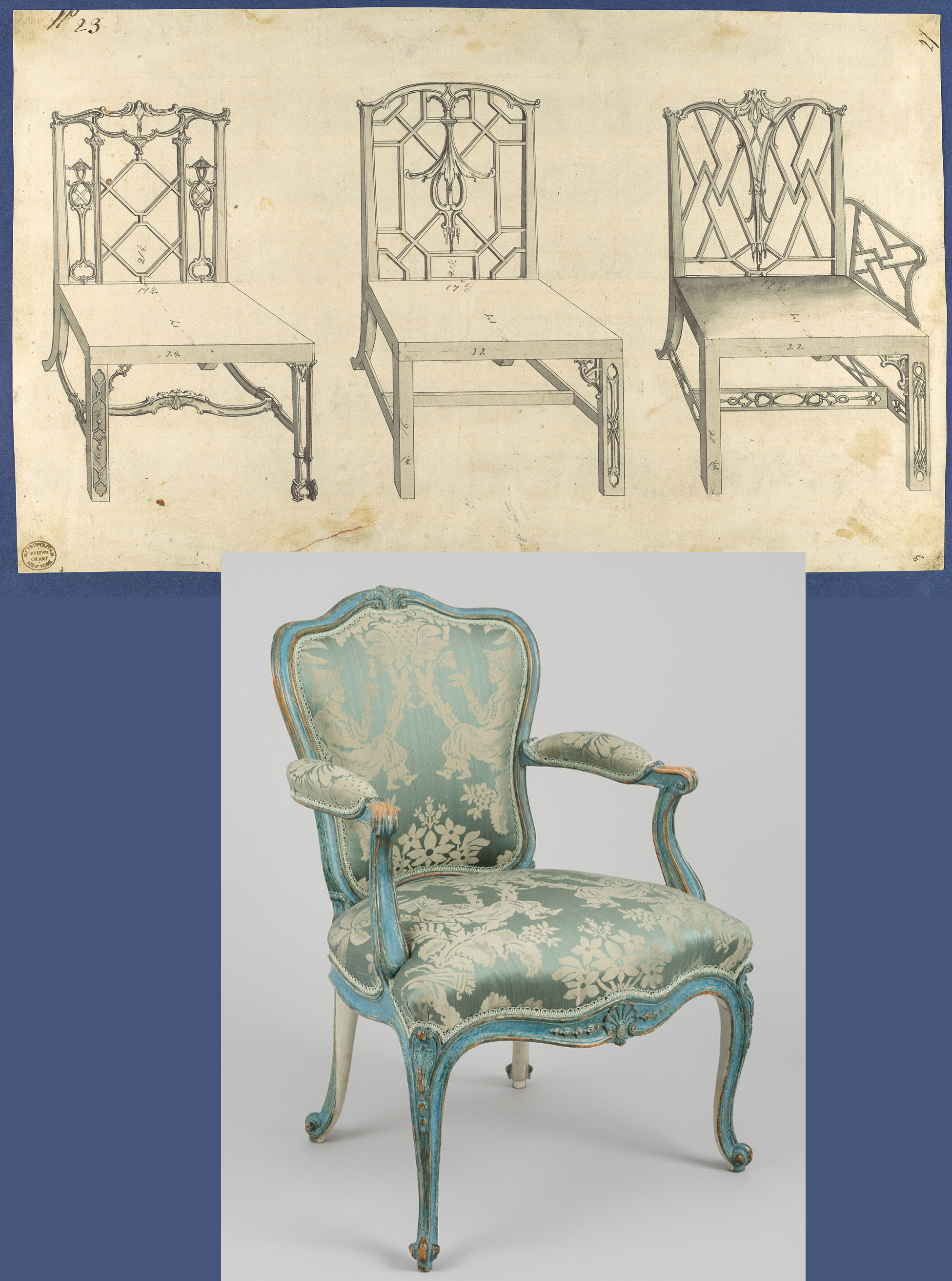 35C Chinese Chippendale chairs Met Mus & Garrick painted chair