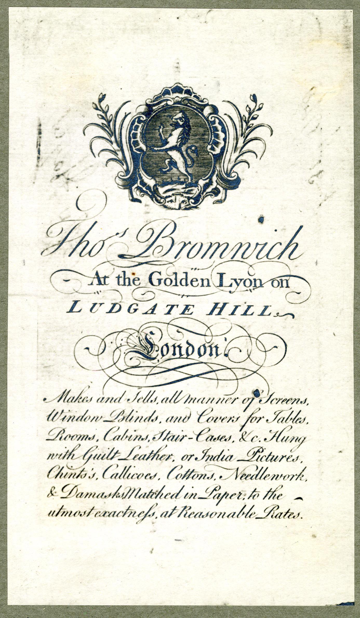 38 Trade card of Thomas Bromwich c1748 BM