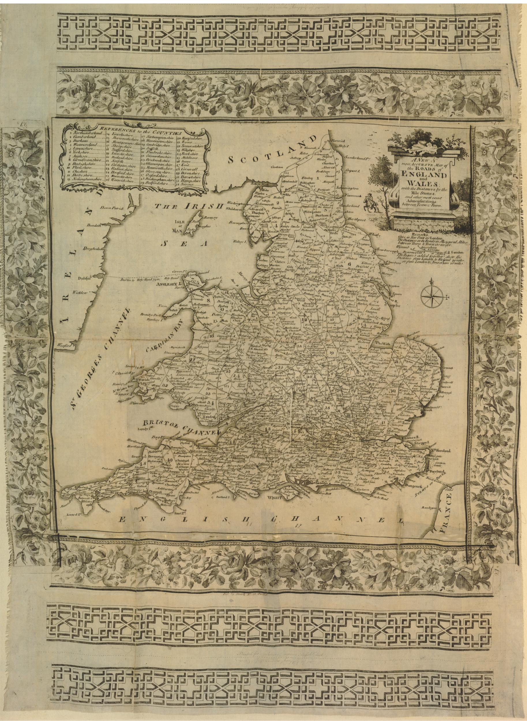39 Matthew or Matthias Darly pub A new and most accurate map of the roads of England and Wale on silk also pub John Spilsbury 1752to78 BM