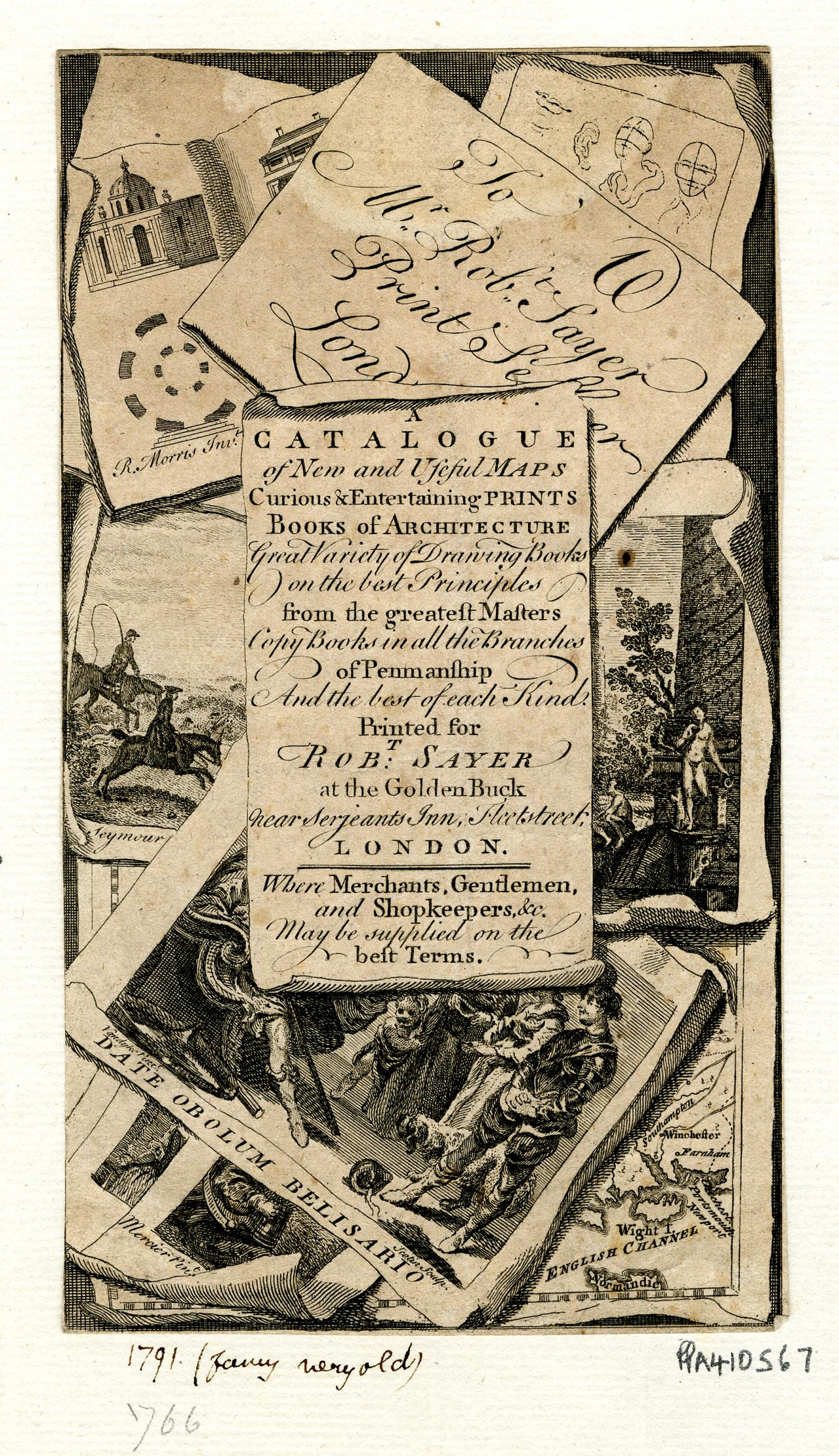 40 Robert Sayer Frontispiece for 'A Catalogue of News and Useful Maps Curious and Entertaining Prints c1766 BM