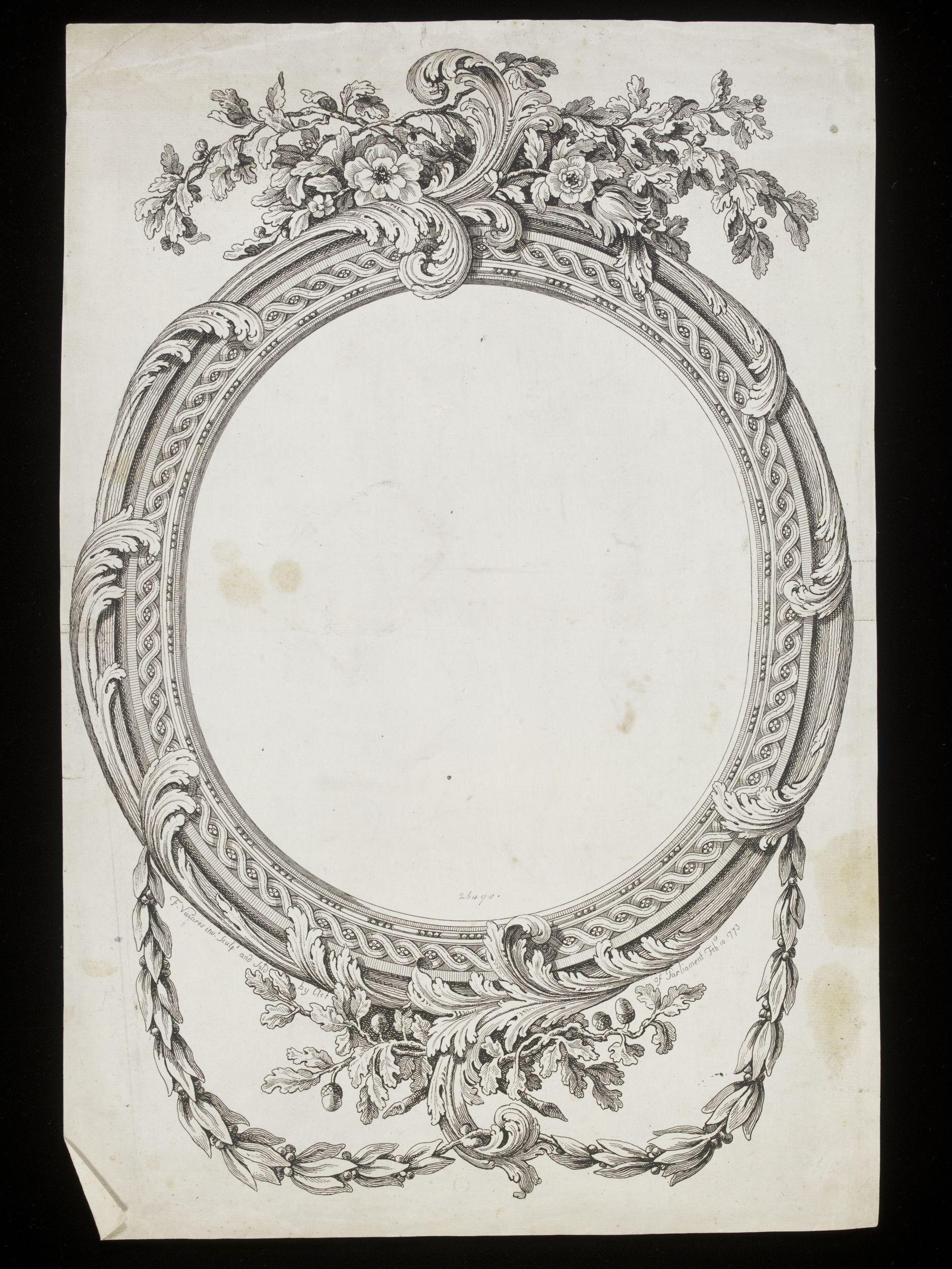 42 François Vivarès Oval guilloche frame floral fronton foliate apron pendant husks V & A