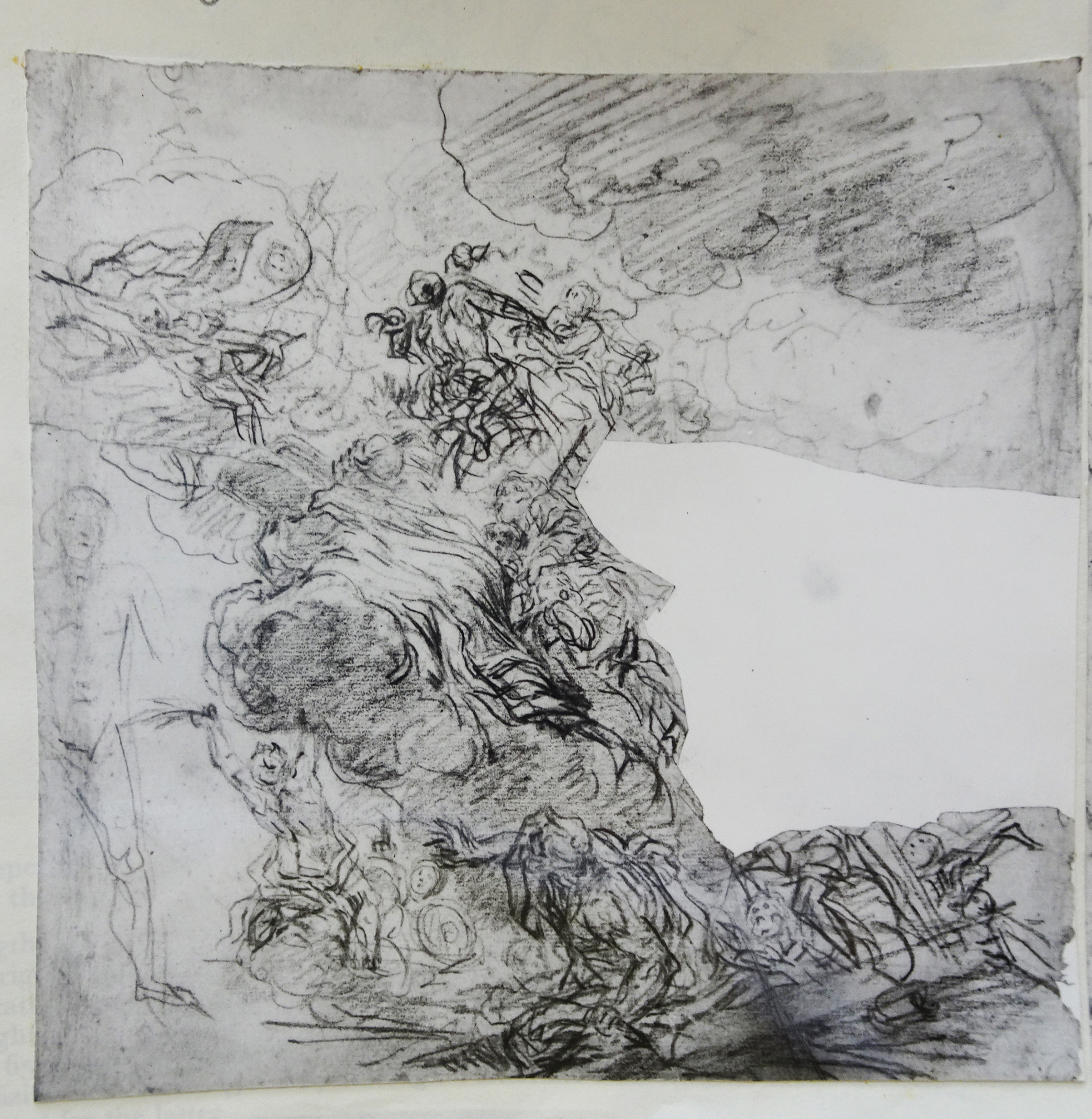 12D Volterrano sheet Figures on clouds black chalk 27x27.5 Sotheby s 1980 Lot 48
