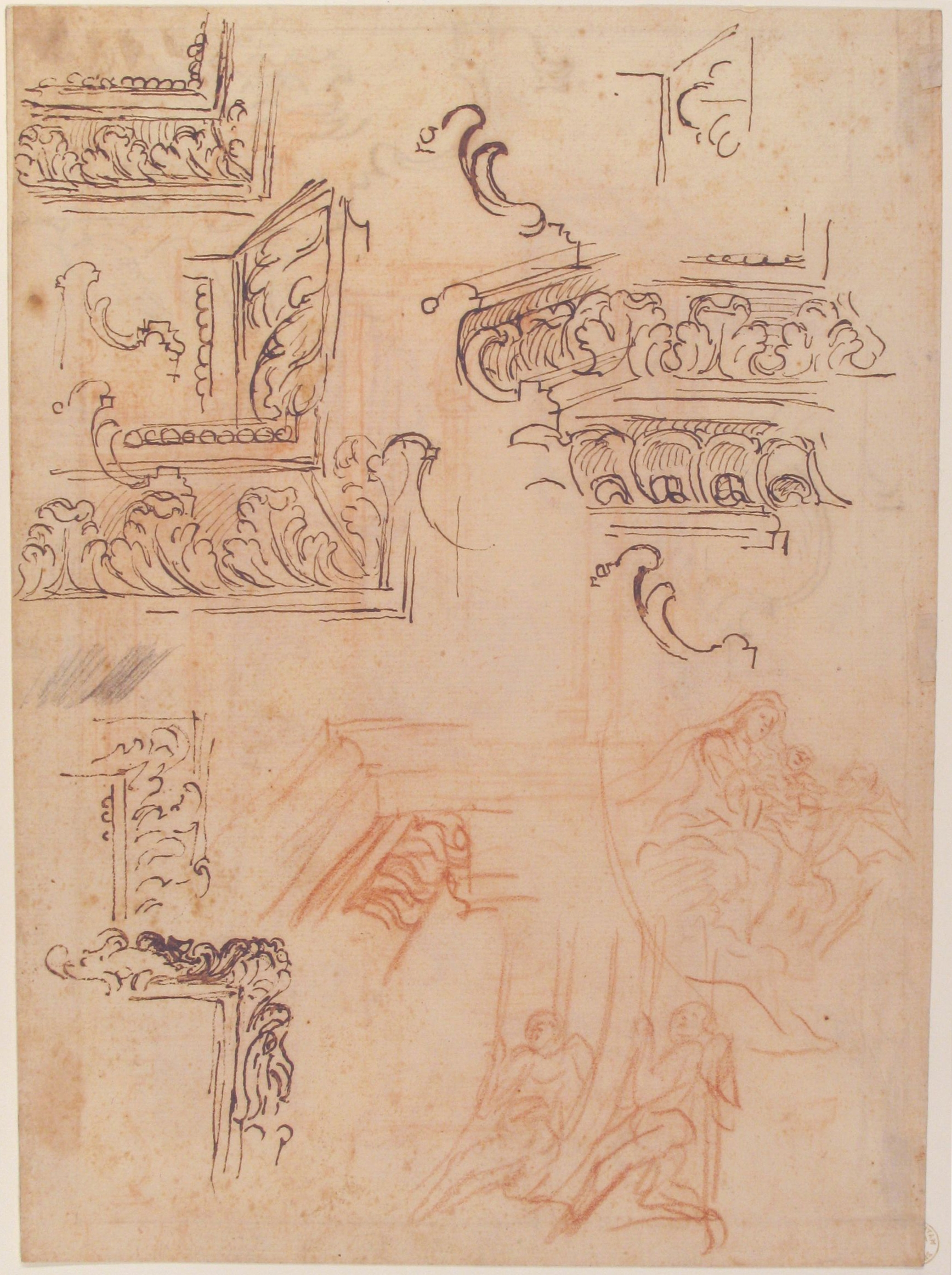 13C Il Volterrano 1611to90 Studies of architectural mouldings &c Recto Met Mus NY