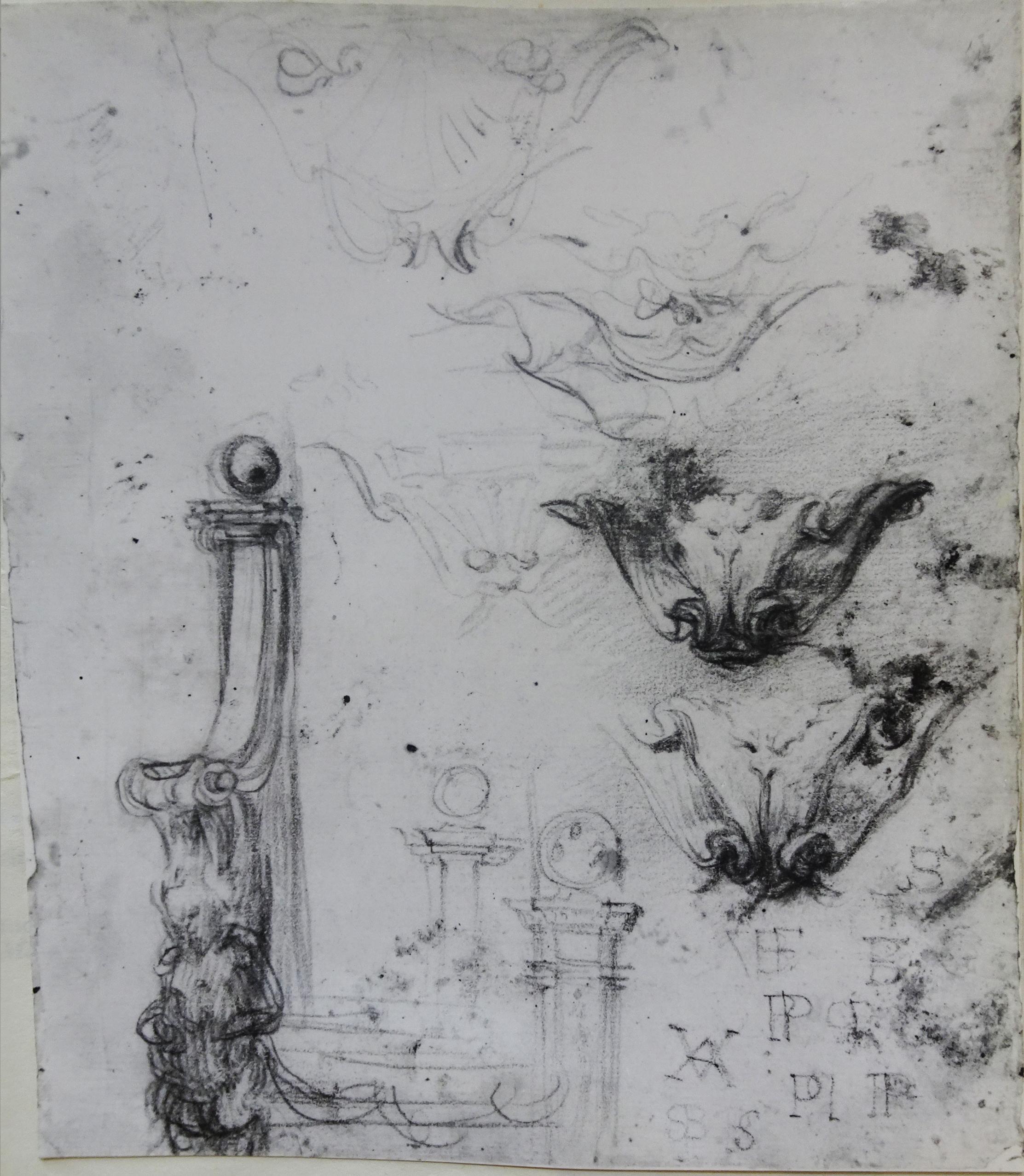 14C Il Volterrano Dec details for Villa La Petraia black chalk 27x27.5 Sotheby s 1980 Lot 11