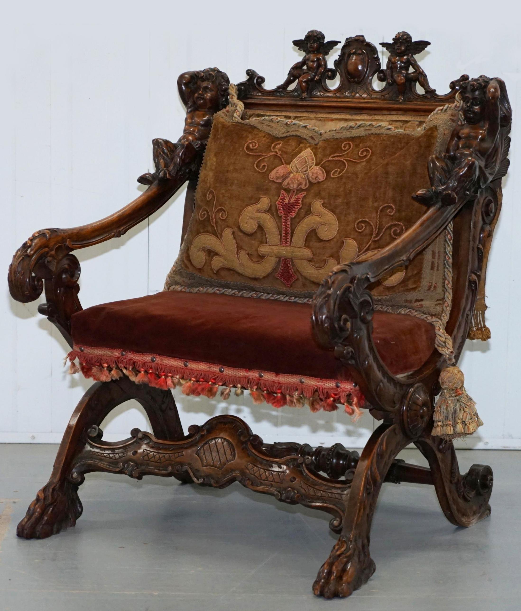 17A Andrea Brustolon armchair with amorini