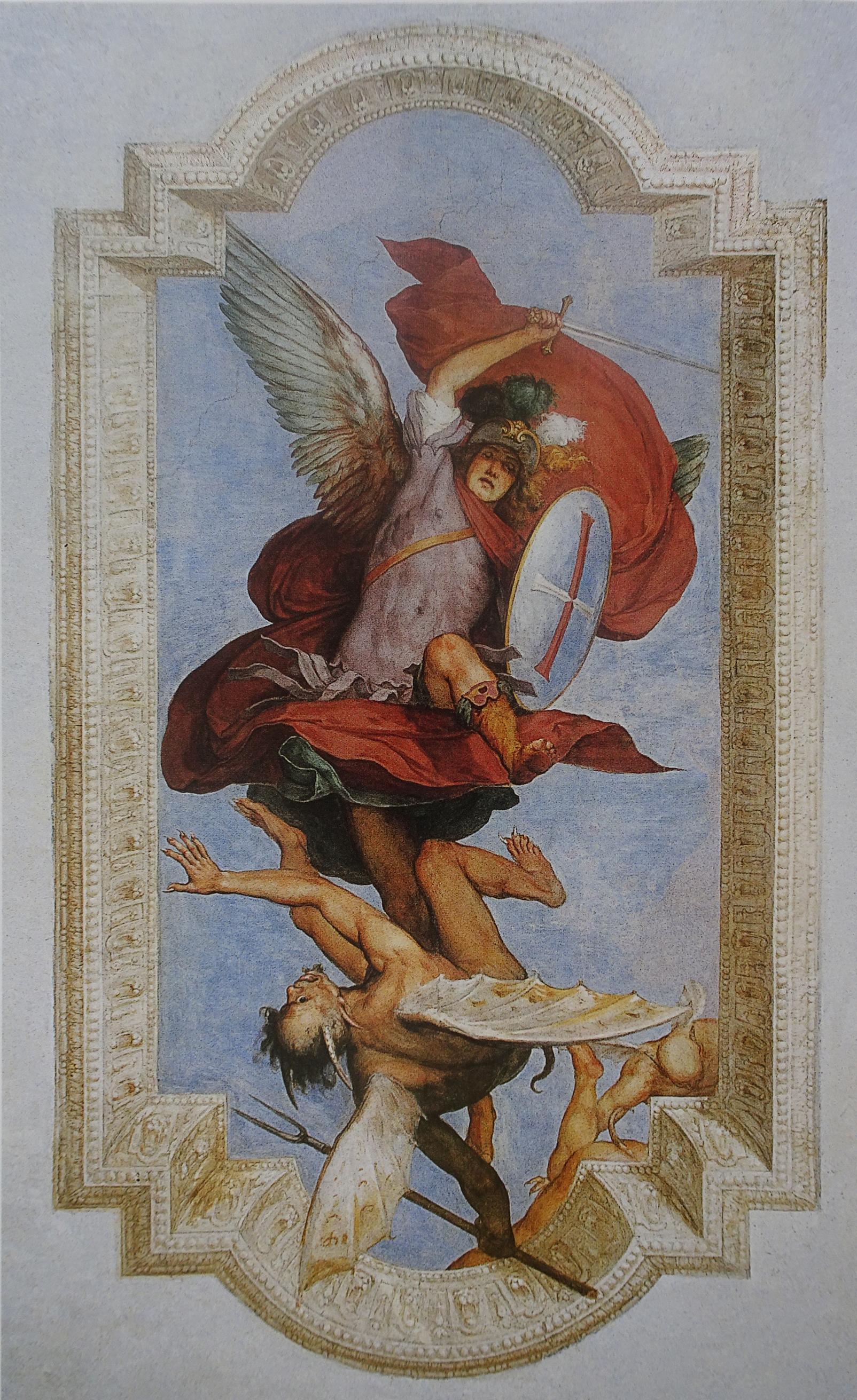 3C San Michele Arcangelo cacia Lucifero e altri diavoli fresco c1637 San Michele Castello Florence
