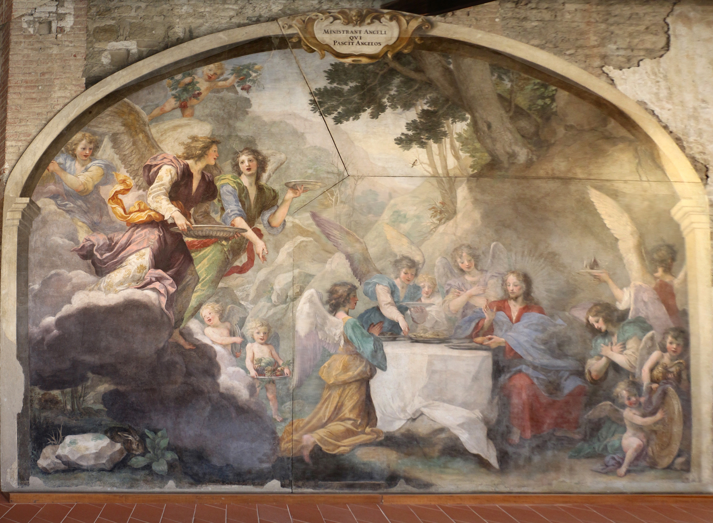 5C Il Volterrano Christ served by angels 1650 Prato