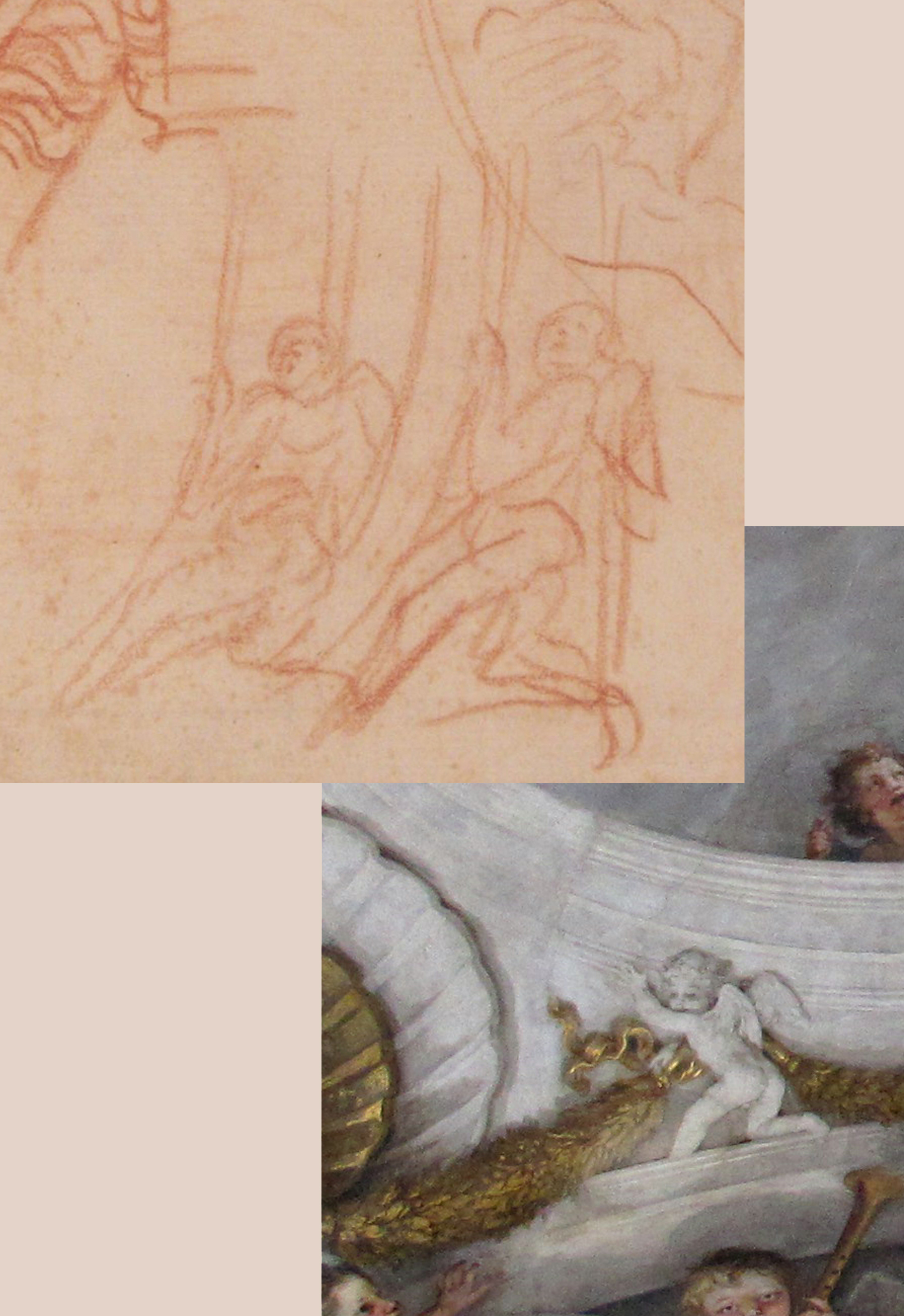 6B Il Volterrano St Cecilia in Glory SS Annunziata detail & Studies of archit mouldings Met Mus NY