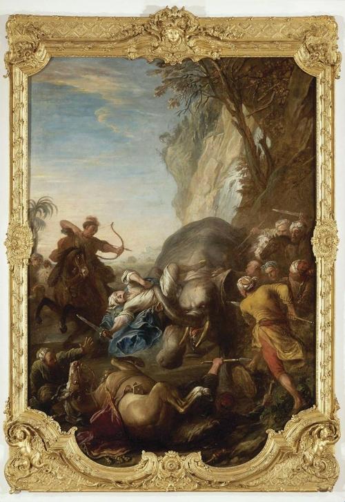 15B Charles Parrocel 1688to1752 La chasse de l éléphant 1735to39 Musée de Picardy Amiens