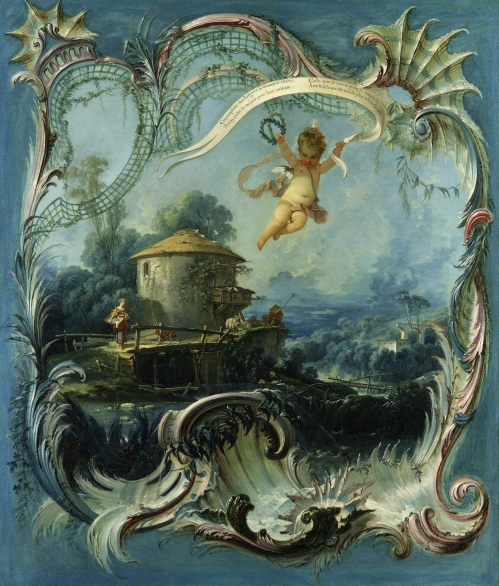 15C BOUCHER-The-Enchanted-Home-A-Pastoral-Landscape-surmounted-by-Cupid-127.5-x-109.5-cm