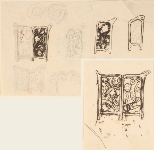 19C Thorvald Bindesbøll Sketches for tiled stove screen 1 Lauritz Auctions 8Sept2021 Lot 6043145
