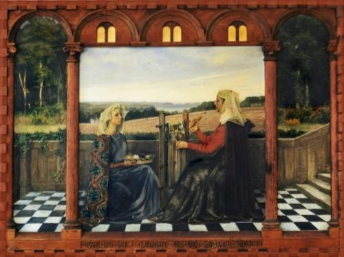 9B Agnes Slott-Møller There sat two ladies weaving in gold panel 1935 36x48cm priv coll