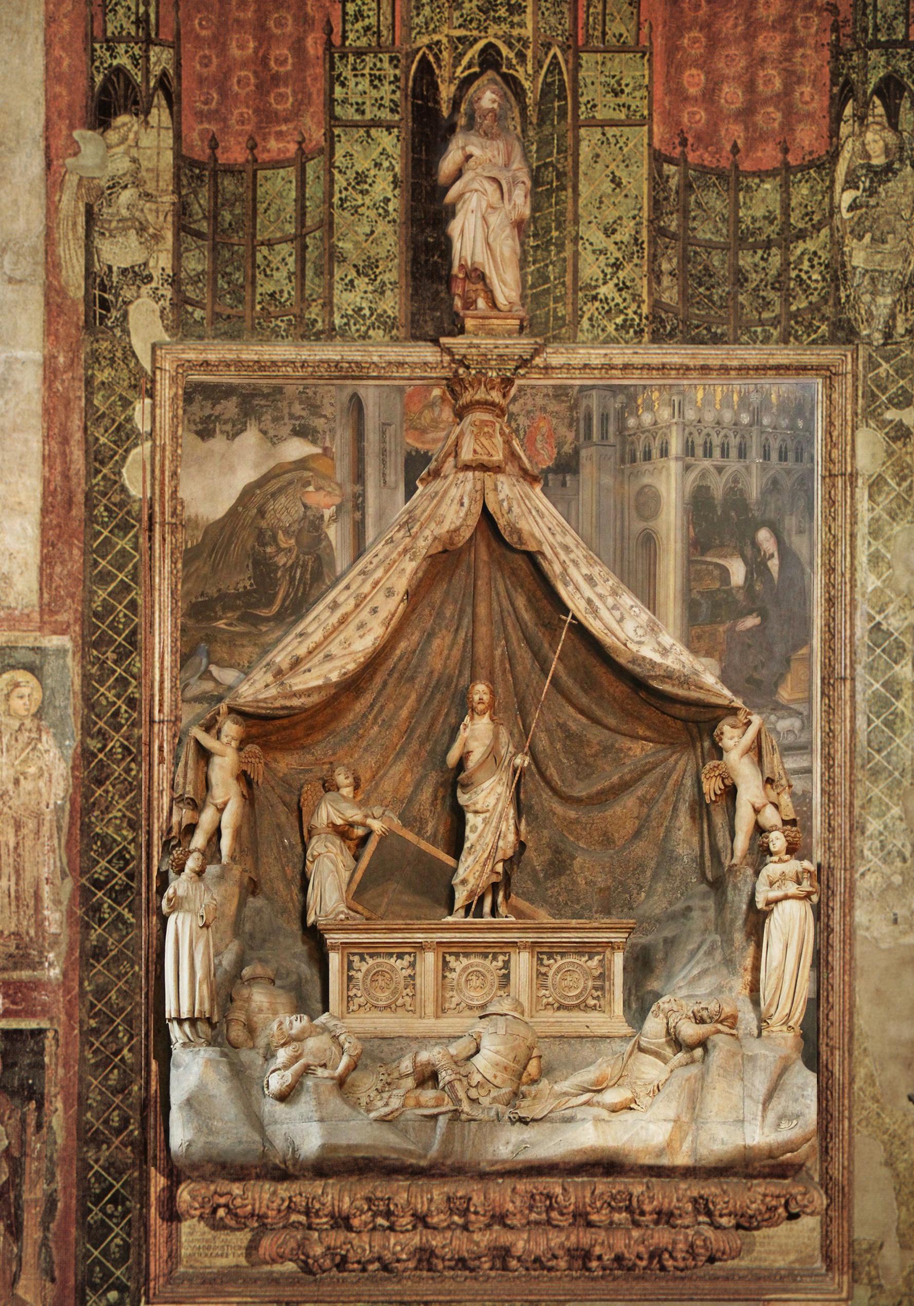 26 Nanni di Bartolo & Pisanello Monument to Niccolò Brenzoni & Annunciation c1424to26 S Fermo Maggiore Venice