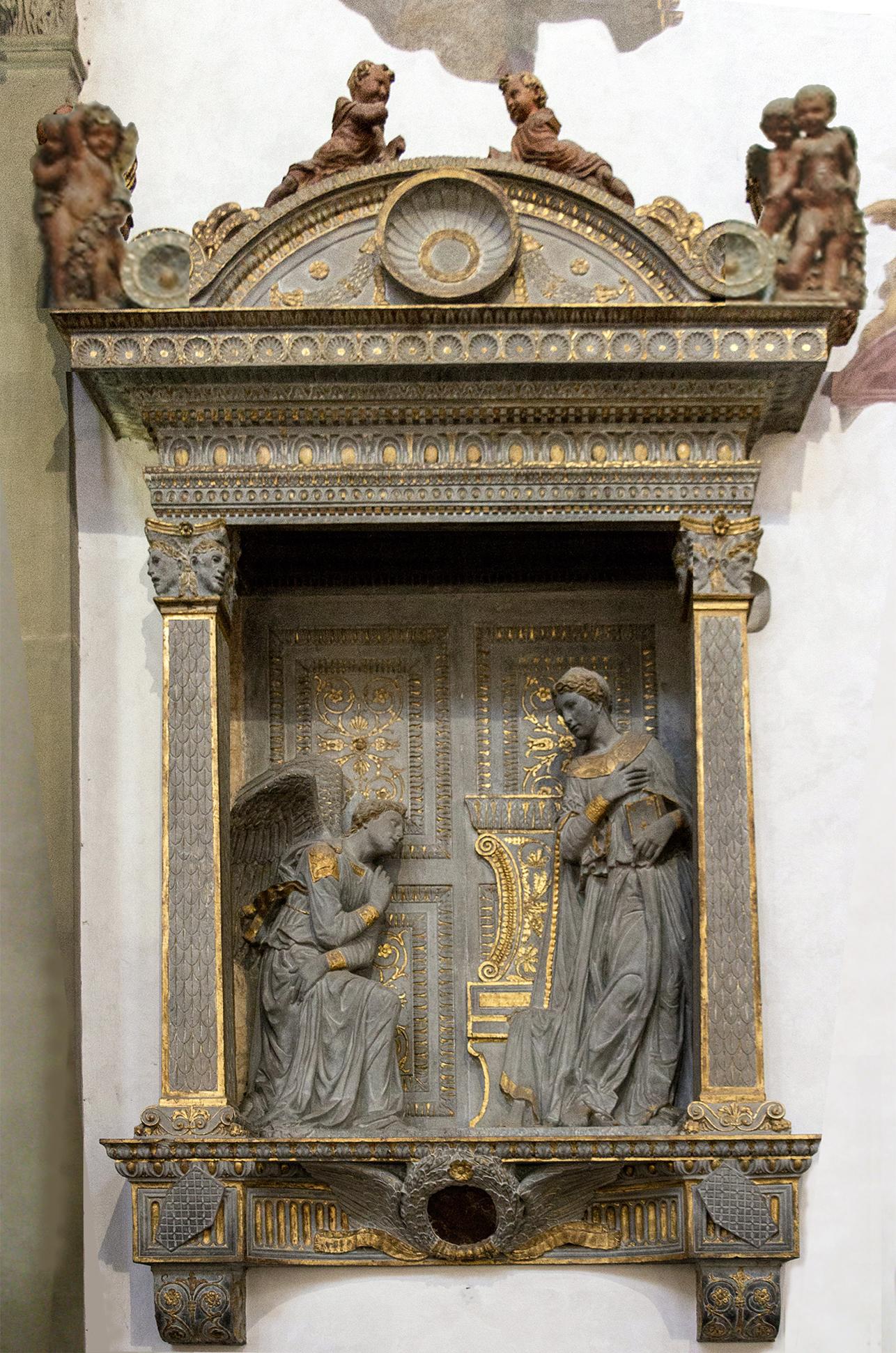 28 Donatello Calvacanti Annunciation c1435 pietra serena Santa Croce 5
