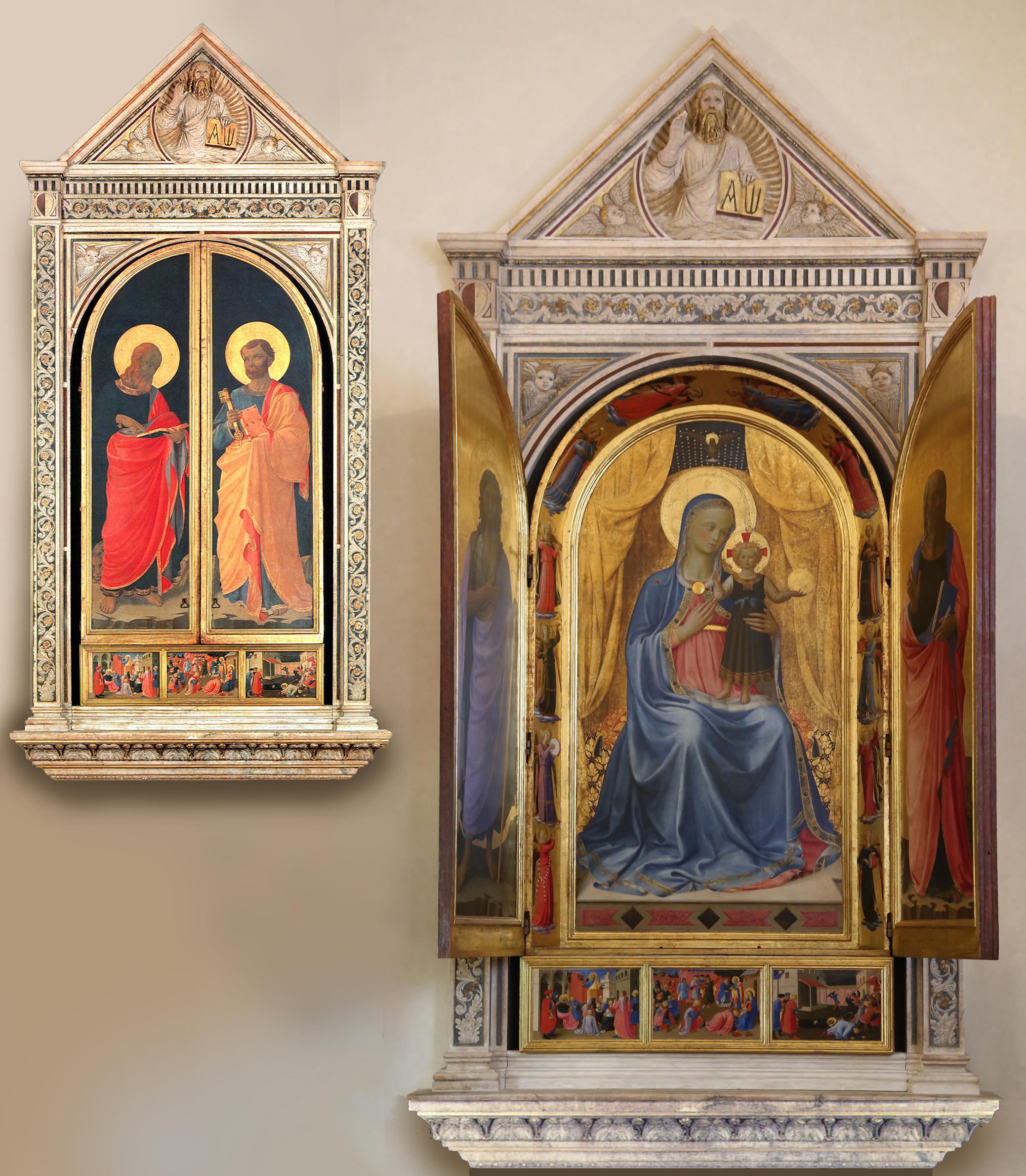 4 Fra Angelico & Lorenzo Ghiberti Tabernacolo dei Linaioli 1432 260x330cm Museo di San Marco Florence