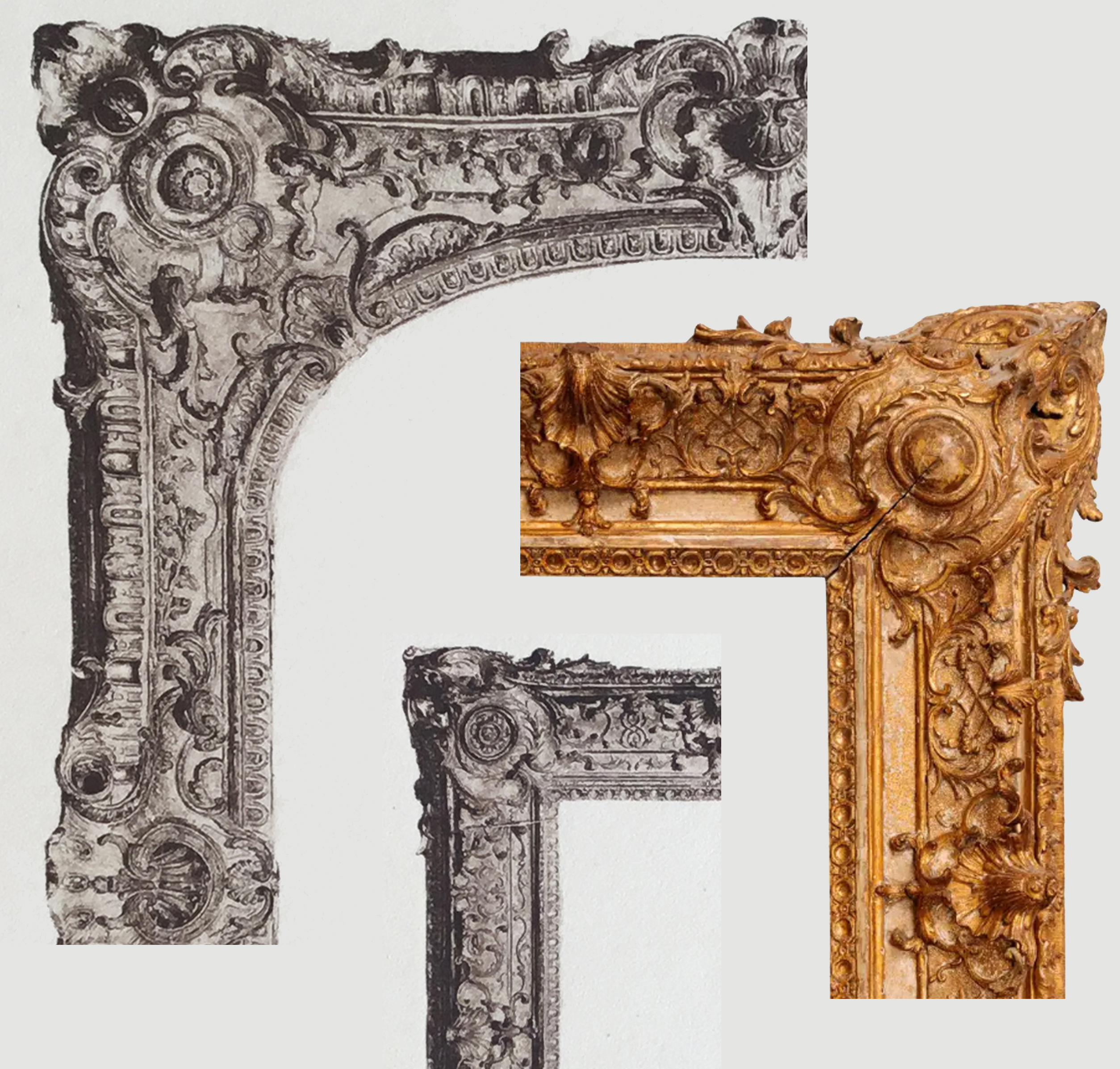 13C Details of Plate 41 & of French Régence frame