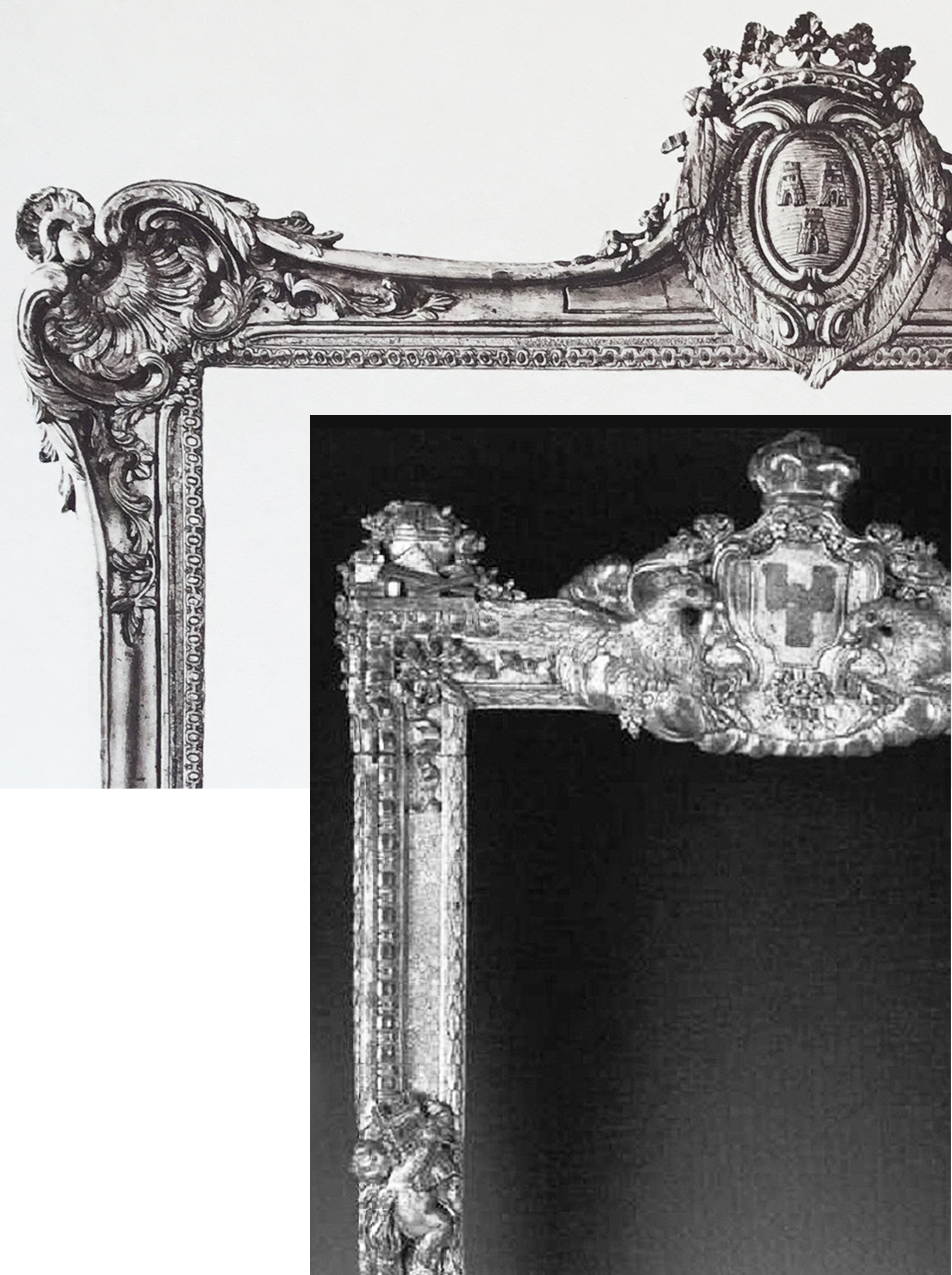 18C Plate 48 detail & detail of Pompadour frame on stand