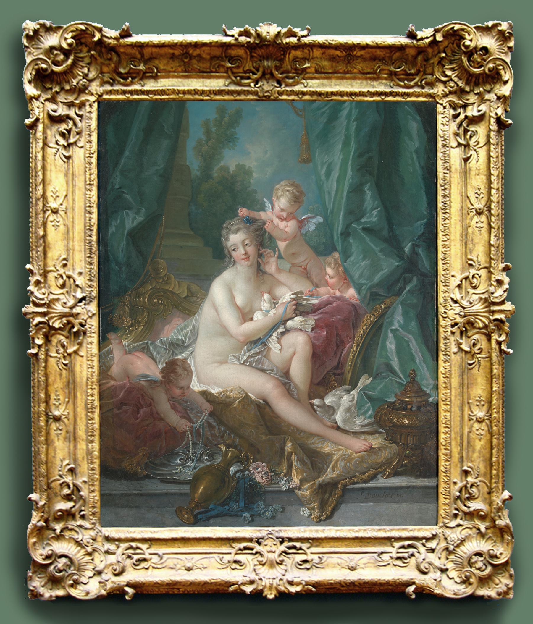 1D Boucher The toilette of Venus 1751 Alluding to Mme de Pompadour Mistress of Louis XV Met Museum NY