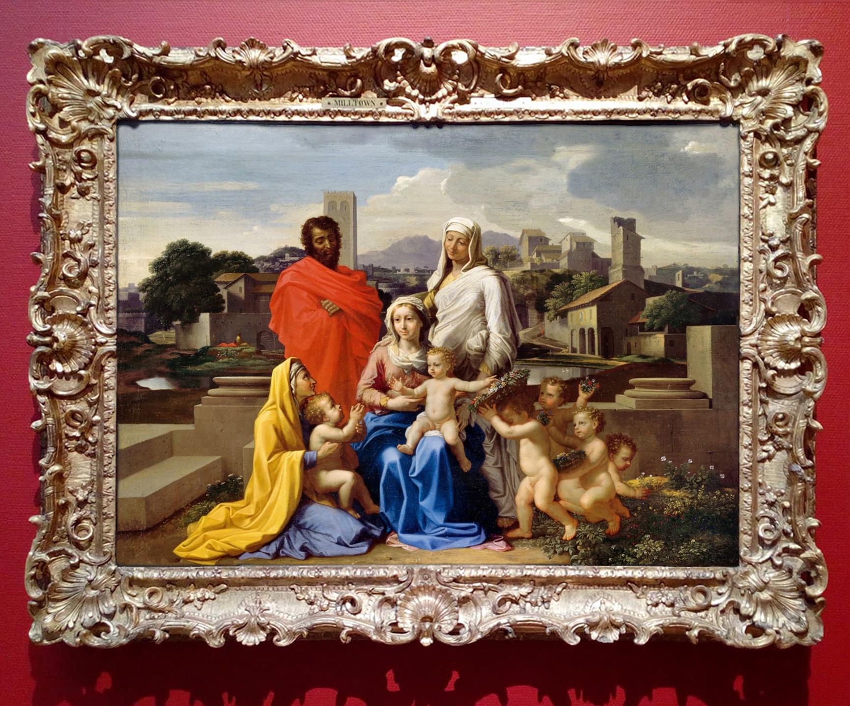 27B Nicolas Poussin Holy Family SS Anne Eliz & John the B 1649 o c 79x106cm Russborough now NGI