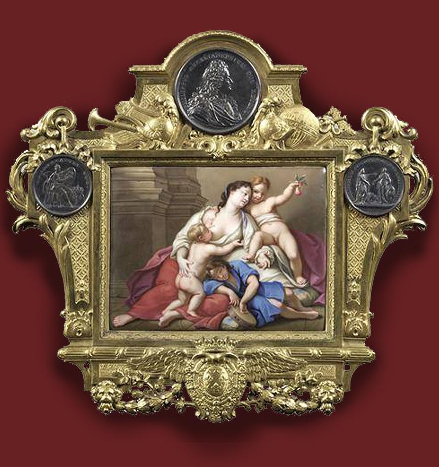 4 Charles Boit Charity enamel plaque with frame Jean Le Blanc gilt bronze 1718 Musée du Louvre ed