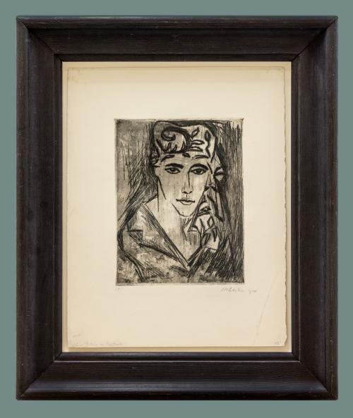 6B Max Pechstein Bildnis mit Kopftuch 1920